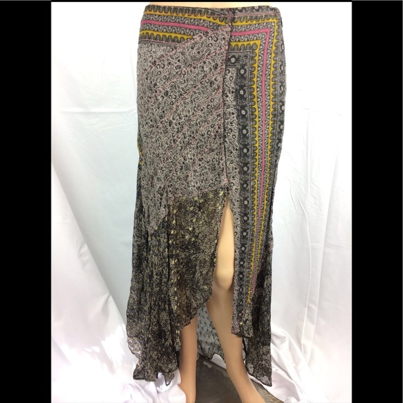 2108ea2fb6d8 Free People Dresses & Skirts - Free People Flowy Asymmetrical Maxi Skirt  Black
